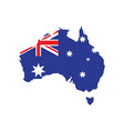 flag australia placed over an outline map vector image
