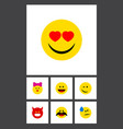 flat icon emoji set of cheerful love winking and vector image vector image