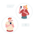 gadgets addiction concept young woman making vector image