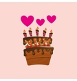 heart cartoon cake candles strawberry and cream vector image vector image