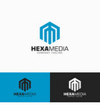 hexa media - letter m logo template vector image