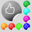 Like icon sign Set of eight multi colored round vector image vector image