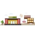 local shop at summer farmers market vector image