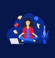 meditation woman at work business working design vector image
