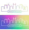 nashville skyline colorful linear style editable vector image vector image