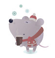 new year and winter rat character vector image vector image