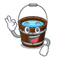 Okay wooden bucket character cartoon