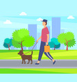 person with dog on lead walking in park buildings vector image vector image