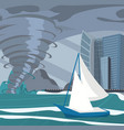 picture impending hurricane on the city vector image vector image