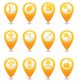 Set of 12 MAP pointer yellow vector image vector image