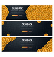 set of cashback service save your money gold vector image vector image