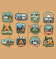 set of summer camp badges on the wood board vector image vector image