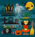 set of witch cat zombie pumpkin and other vector image