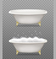 set white bathtubs with soap foam and bubbles vector image
