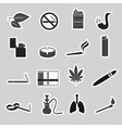 smoking and cigarettes simple black stickers set vector image