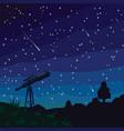 stargazing falling stars natural landscape vector image vector image