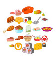 sushi icons set cartoon style vector image vector image
