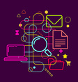 Symbols of internet searching on abstract colorful vector image vector image