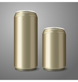 Two blank golden beer cans isolated on gray vector image vector image