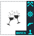 two glasses of champagne icon flat vector image vector image