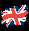 UK flag grunge style on black background Brush vector image