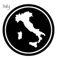 white map of italy on black circle vector image