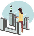 woman passing through automated gates vector image