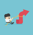 young businessman pulling arrow with rope vector image vector image