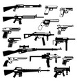 military set of automatic guns pistols and other vector image