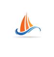 Marine boat waves image vector image