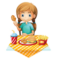 A hungry young girl eating vector image vector image