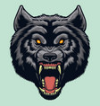 angry wolf face vector image vector image
