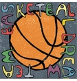 Basketball ball hand drawn poster design vector image vector image