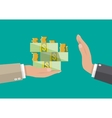 businessman giving money to hand anti Corruption vector image vector image