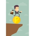 Businessman runs into the abyss vector image