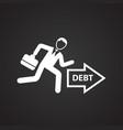 businessman runs to debts on black background vector image