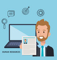 businessman with human resources set icons vector image vector image