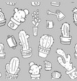 cactus black and white seamless pattern vector image vector image