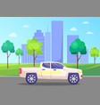 car in streets city business center downtown vector image