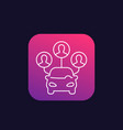 carsharing service icon linear vector image vector image