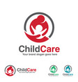 child care logo mother and kid with hand symbol vector image vector image