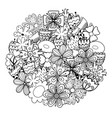 circle shape coloring page with doodle flowers vector image