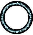circular blue neon graffiti tags on black