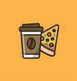 coffee drink and pizza vector image vector image