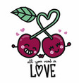couple cherry all you need is love cartoon vector image