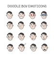 cute doodle boy heads set Boy emoticons vector image vector image