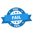 fail ribbon fail round blue sign fail vector image vector image