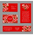 four cards with texture pink lilies vector image vector image