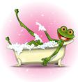 Frog in a bath vector image vector image