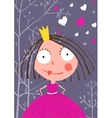 Fun and Cute Little Princess in Dark Forest with vector image vector image
